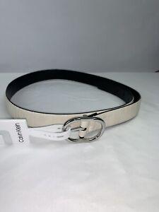 CALVIN KLEIN Women's Size L white/Black Round buckle  Belt New