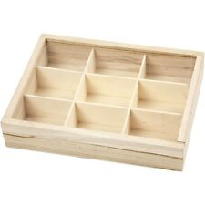 Small wood storage box with 9 compartments and sliding Plexiglas lid WC454