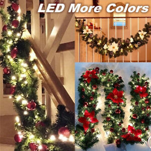 270cm Christmas Garland Green Rattan With Bows 30 LED Lights Party Decoration