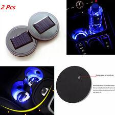 2x Solar Power Cup Holder Bottom Drink Pad Blue LED Light Cover Mat USB Socket