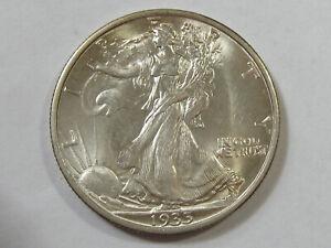 BU Uncirculated 1935 Silver Walking Liberty Half Dollar - #9710-5