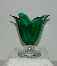 """Green Art Glass Flower Shaped Vase Candle Holder w/Clear Base 6-3/4"""" T"""