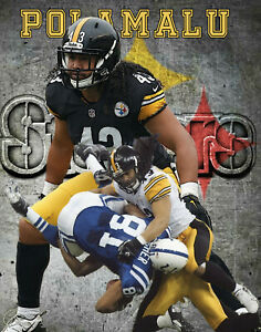 Pittsburgh Steelers  Lithograph print of  Troy Polamalu  11 x 14