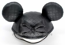 NEW Disney Parks Black Quilted Stitched Minnie Mouse Ear Hat Cap with Bow