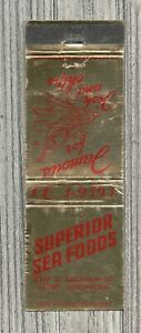 Matchbook Cover-Superior Sea Foods Flint Michigan-Famous Fish and Chips-1353