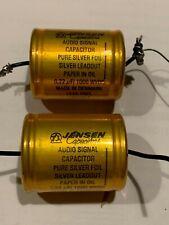 A Pair Jensen Audio Paper in Oil Pure Silver Foil Leadout 0.22uf 1000WVDC clean