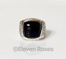 Mens David Yurman Naturals Black Onyx Gator Signet Ring DY 925 Sterling Silver