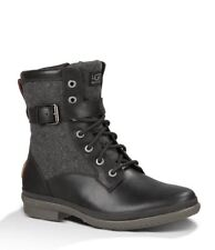 UGG Womens Kesey Black Waterproof Leather Textile Wool Lined Boots SIZE 9.5 New