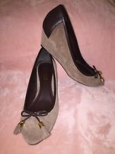 NEW Ralph Lauren Brown Beige Wedges Suede & Leather Size 9.5