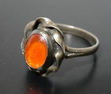 VINTAGE 60's ORNATE MEXICAN FIRE OPAL  STERLING RING sz ~ 9.5