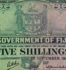 MY QE II Collection>FIJI 5 shillings banknote 1964 very high grade detail  nice!