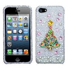 Apple iPhone 5 5S SE Crystal Diamond BLING Case Phone Cover 3D Christmas Tree