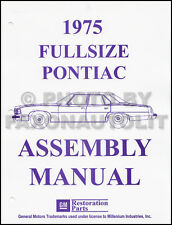 1975 Pontiac Factory Assembly Manual Bonneville Catalina Grandville Grand Safari
