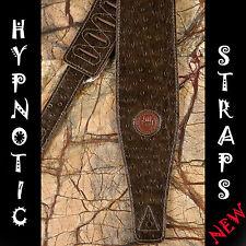 Hypnotic Straps Pelle Scamosciata Marrone Scuro PAVONE Guitar Bass Acustica Strap Cintura