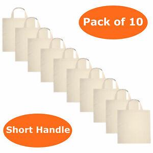 PSS 100% Cotton Canvas short handle shopping bag Natural Reusable eco friendly