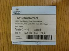 14/04/2004 Ticket: Newcastle United v PSV Eindhoven [UEFA Cup] (Light Crease, Fo