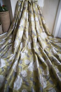 YELLOW LIME GREEN GREY FLORAL JACQUARD CURTAINS,66WX72D,M&S,LINED,PENCIL PLEAT