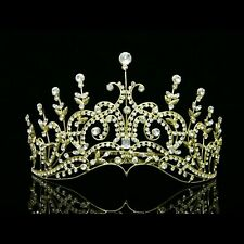 Gold Bridal Wedding Pageant Rhinestone Crystal Crown Tiara 6429