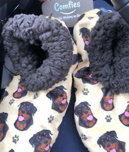 Rottweiler Comfies Ladies Slippers One size fis most NWT gold,brown,black bootie