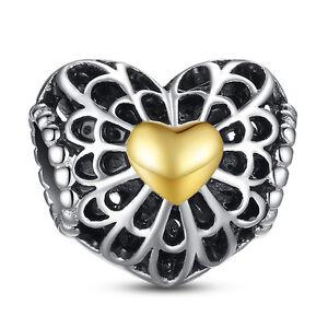 Vintage Heart 925 Sterling Silver Bead Charm Fit Bracelet Bangle
