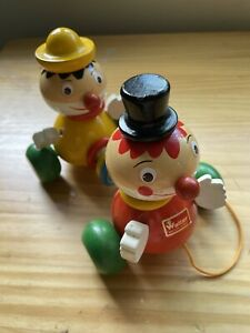 Walter West Germany Vintage Wooden Pull Toy 2 Clowns Hand Painted