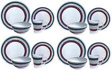 16PC Melamine Dinner Set Plates Bowls Mugs Kitchen Service 4 Family Dining Set