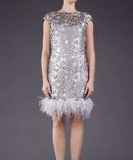 MARCHESA NOTTE SILVER FEATHER SEQUINNED DRESS SIZE 8 UK