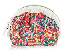 Betsey Johnson Nylon MIni Ruffle Sprinkle Pouch Cosmetic Case Bag - Multi