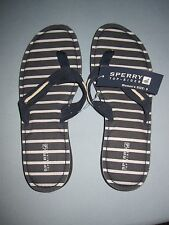 Sperry Top-Sider Riverside Navy/Stripes Flip Flops - Size 9M- NWT