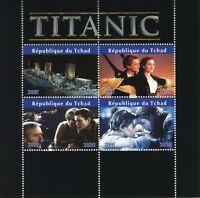 Chad Ships Stamps 2020 CTO Titanic Movies Leonardi DiCaprio Kate Winslet 4v M/S