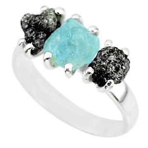 8.56cts Natural Diamond Rough Aquamarine Raw 925 Silver Ring Size 8 R92196