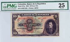 COLOMBIA  BANKNOTES $10 1926  PMG CERTIFIED 25