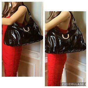 GUCCI ABBEY D RING PATENT LEATHER HOBO BAG BLACK ITALY LARGE
