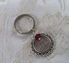 Lucky Sixpence Keychain/Keyring/Handbag Charm with Swarovski Crystal Birthstone