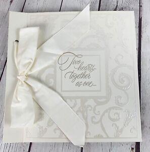 "Hallmark 10 x 10"" Ivory Wedding Album TWO HEARTS, TOGETHER AS ONE"