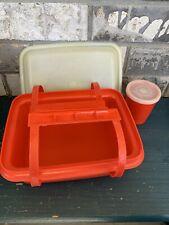 Vintage Tupperware Pack N Carry Lunch Box #1513 Paprika Orange - Box, Lid & more