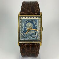 Vantage By Hamilton Mens Bill Blass United States Postage Stamp One Cent Watch