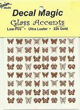 Glass Fusing 22K Gold Decals BUTTERFLIES Low Fire Decal Magic Fusing Supplies