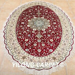 Yilong 6'x9' Oval Classic Silk Rugs Hand Knotted Medallion Carpets Handmade 0969