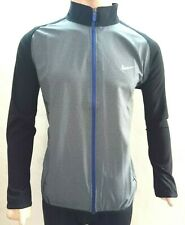 Mens Gray Track Jacket Activewear Blue Full Zip Stretch Dri Fit Casual Upper