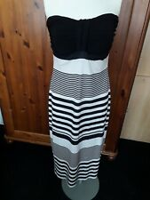 Lipsy bandeau pencil dress - size 12, black & ivory stripes
