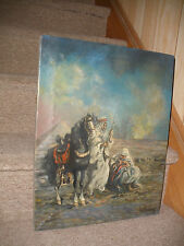 Listed Italian 19thc  Umberto Gianni  Arab men with horse oil canvas painting