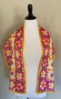 Vintage Vera Neumann Silk Scarf Oblong Colorful Floral Pink Orange Yellow