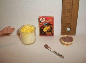 KITCHEN FOOD HANDMADE FOR BARBIE MONSTER BAKING A CAKE 1/6 LITTLES OOAK LOT