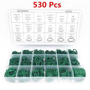 530Pcs 18 Sizes Car A/C Air Conditioning Repair Rubber O-ring Seals Green Kits