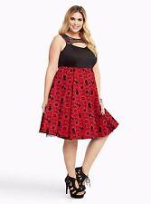 Torrid Disney Princess Velvet Prom Snow White Print Swing Dress 18 2X NWT