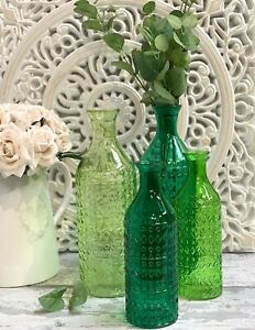 Large Decorative Green Glass Bottle Vases S23cm & L30cm Tall