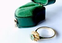 Vintage 18ct Gold High Set Emerald Flower Ring Size L1/2 US 6 IN BOX