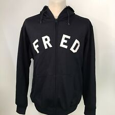 FRED PERRY Track Top Jacket Hooded Zip Up Spellout Size Large