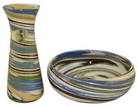 Desert Sands Swirl Pottery Bud Vase And Low Bowl